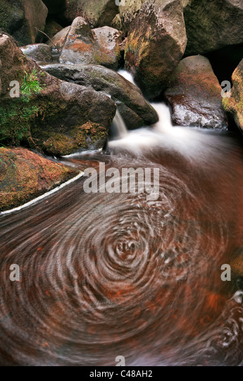 Swirling water pool at Burbage Brook, Padley Gorge, Derbyshire, The Peak District National Park, June 2011. - Stock Image
