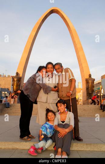 Peru Tacna Avenida San Martin Plaza de Armas public park square Arco Parabolico parabolic arch monument War of the - Stock Image