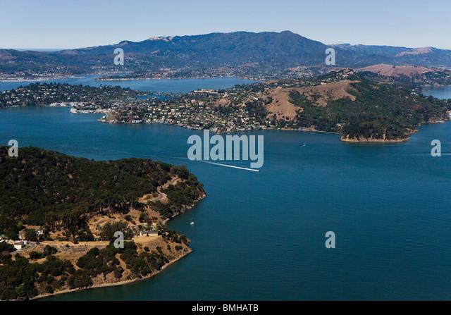 aerial view above Raccoon Straights San Francisco Bay Tiburon Angel Island Mount Tamalpais Marin County California - Stock Image