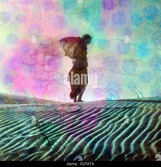 Abstract female figure in desert dune. Photo based illustration. - Stock Image