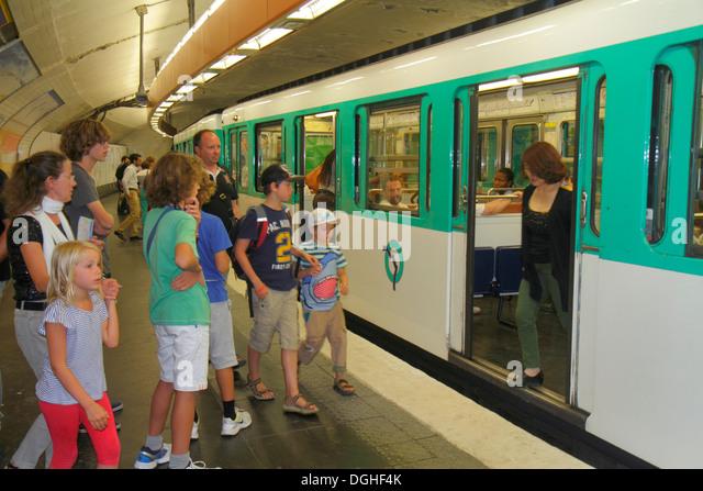 Paris France Europe French 18th arrondissement Montmatre Anvers Sacre Coeur Metro Station Line 2 subway public transportation - Stock Image
