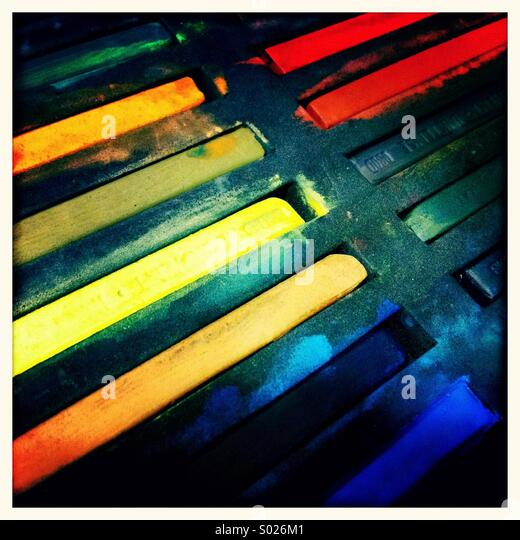 Coloured crayons - Stock Image