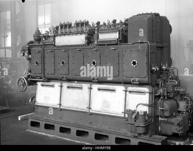 1930 - 40. Fiat - Ansaldo machine. Motors components. - Stock Image