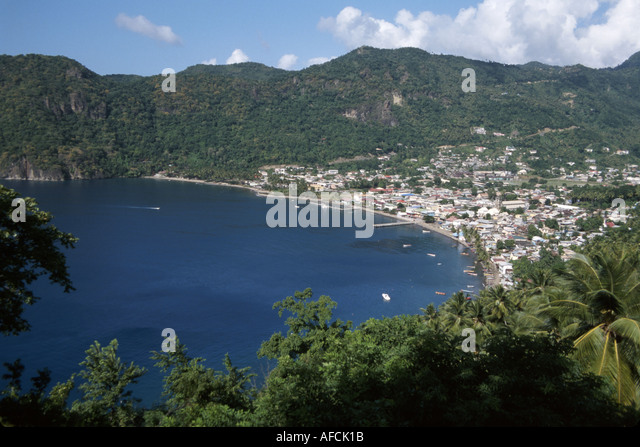 West Indies St. Lucia Anse Chastanet Resort Soufriere Bay City of Soufriere Caribbean Highway view - Stock Image