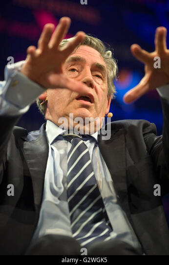 Hay-on-Wye, Wales, UK. 4th June 2016. Gordon Brown former UK Prime Minister speaking on stage at Hay Festival 2016 - Stock Image