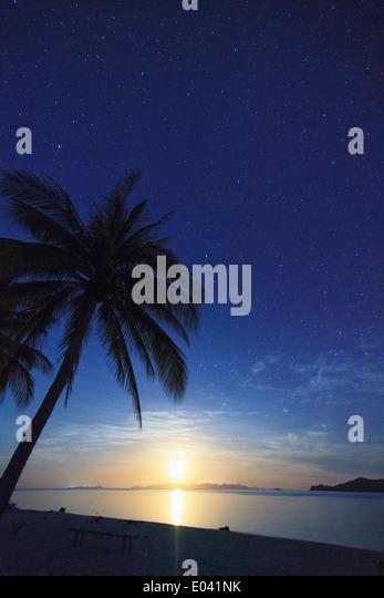 Philippines, Palawan, Daracoton Island, Milky Way and Beach - Stock Image