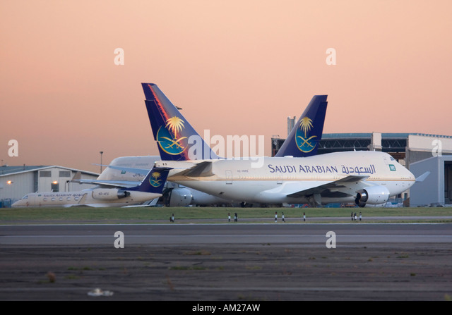 Fleet of Saudi Arabian goverment at London Heathrow Airport UK - Stock Image