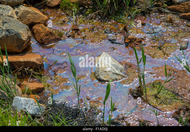 Oil Slick Spill Pollution In Stream - Stock Image