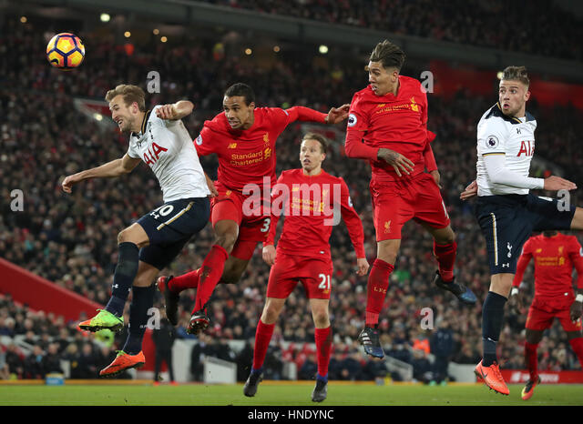 Tottenham Hotspur's Harry Kane (left) and Liverpool's Joel Matip battle for the ball during the Premier - Stock Image