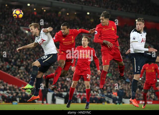 Tottenham Hotspur's Harry Kane (left) and Liverpool's Joel Matip battle for the ball during the Premier - Stock Image