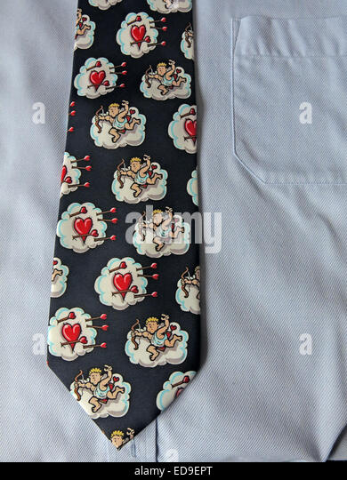 Interesting valentines day tie, male neckware in silk - Stock Image