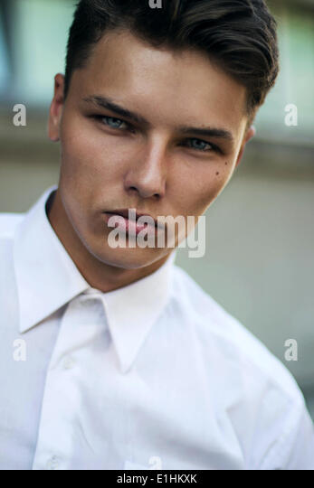 Confidence & Certitude. Respectable Strict Young Man - White Collar - Stock Image