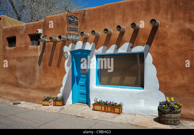 Adobe architecture, Santa Fe, New Mexico, USA - Stock Image