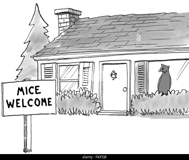 Cartoon showing a cat in the house and a 'Mice Welcome' sign in his front yard. - Stock Image