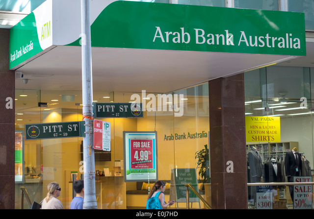 Australia NSW New South Wales Sydney CBD Central Business District Pitt Street Arab Bank Australia front entrance - Stock Image