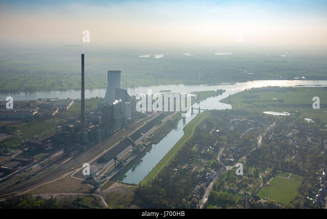 Former colliery Walsum, coal-fired power plant, fossil fuels, power station Walsum, Rhine, river, STEAG, Duisburg, - Stock Image