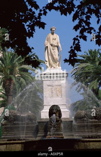 Statue of Napoleon as First Consul Place Foch Ajaccio Corsica France Europe - Stock Image