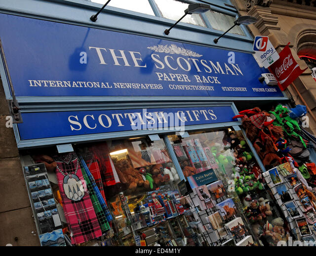 The Scotsman Paper Rack, Cockburn St Edinburgh, Scotland, Uk - Stock Image