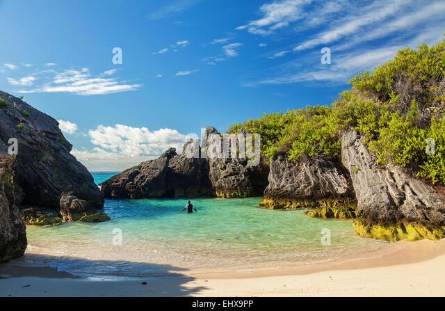 Jobson's Cove, at Warwick Long Bay, South Shore, Warwick Parish, Bermuda - Stock Image