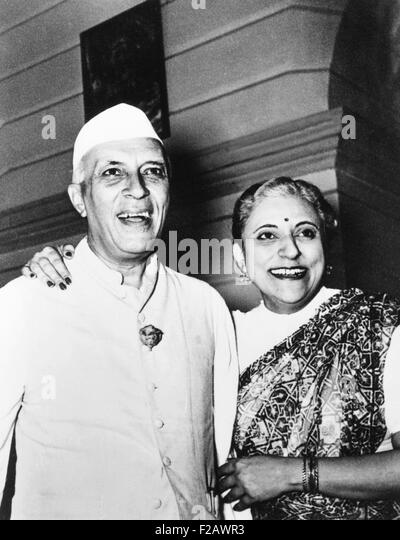 Jawaharlal Nehru with his youngest sister, Krishna Nehru Hutheesing, ca. 1950. She was the author of a family history, - Stock Image