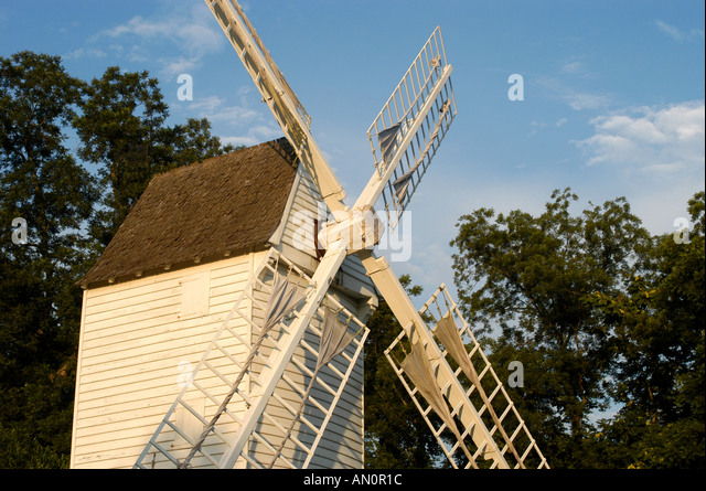 colonial williamsburg virginia old windmill - Stock Image