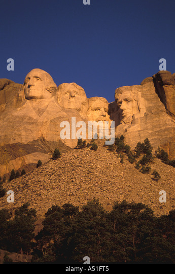 South Dakota Mount Rushmore National Memorial iconic image american presidents early morning light - Stock Image