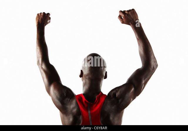 Athlete cheering - Stock Image