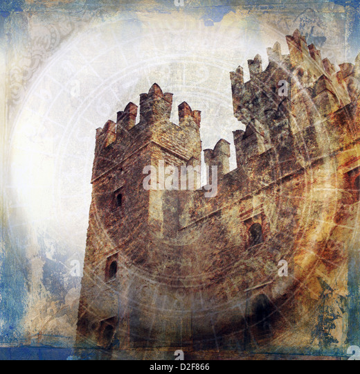 Midieval fortress. Photo based illustration.  - Stock Image