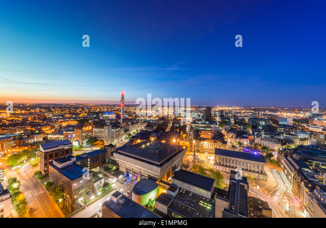 A night view of Birmingham city centre at night. - Stock Image