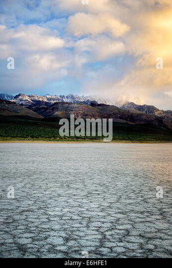 Alvord Desert and Steens Mountain with storm clouds. Harney County, Oregon - Stock Image
