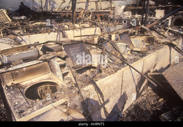 Laundromat burned out during 1992 riots South Central Los Angeles California - Stock Image