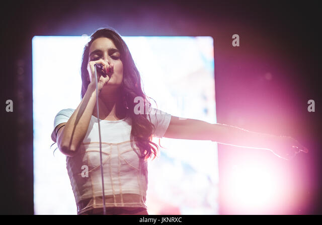 Turin, Italy. 23rd July, 2017. Levante performing live on stage at the Flowers Festival 2017 Photo: Alessandro Bosio - Stock Image