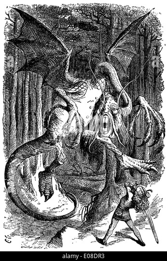 Illustration to the poem Jabberwocky by English illustrator Sir John Tenniel - Stock Image