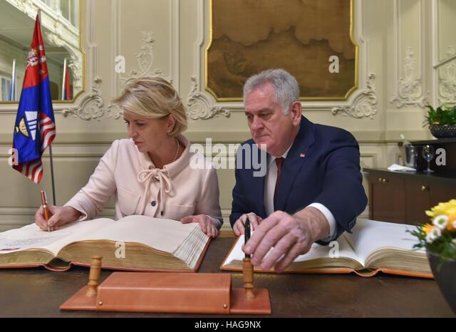Grandhotel Pupp, Karlovy Vary. 30th Nov, 2016. Serbian President Tomislav Nikolic (right) with his wife Dragica - Stock-Bilder
