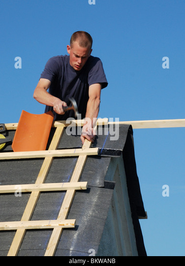 Joiner on roof - Stock Image