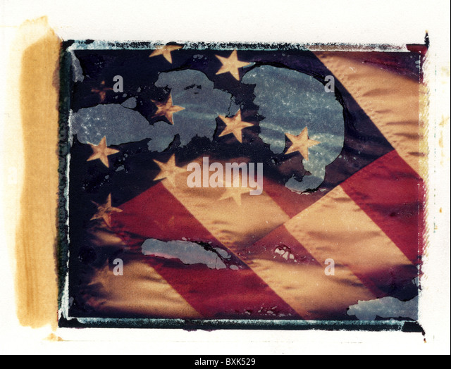american flag that is distressed (peeling & fading), old glory - Stock Image