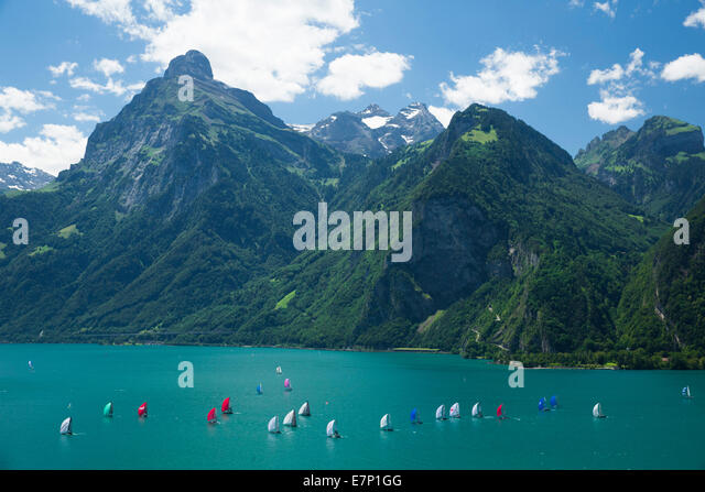 Lake Uri, yachting, regatta, Vierwaldstättersee, Lake Lucerne, sailing, sailboat, Water sport, Switzerland, - Stock Image