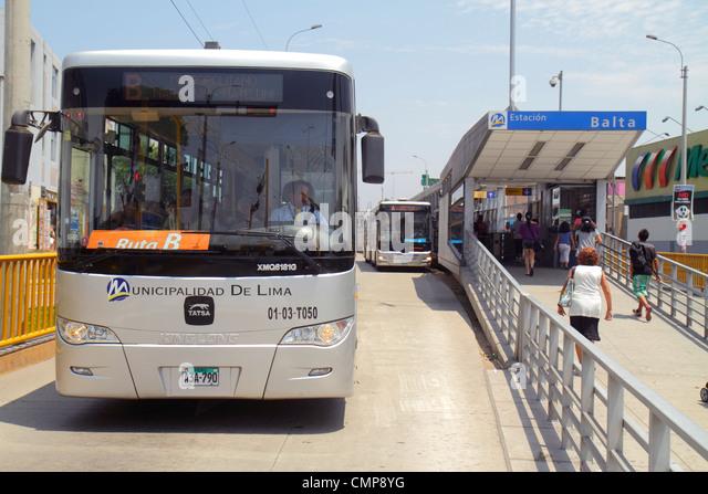 Peru Lima Barranco District Avenida Bolognesi Estacion Balta station Metropolitano Bus Line public transportation - Stock Image