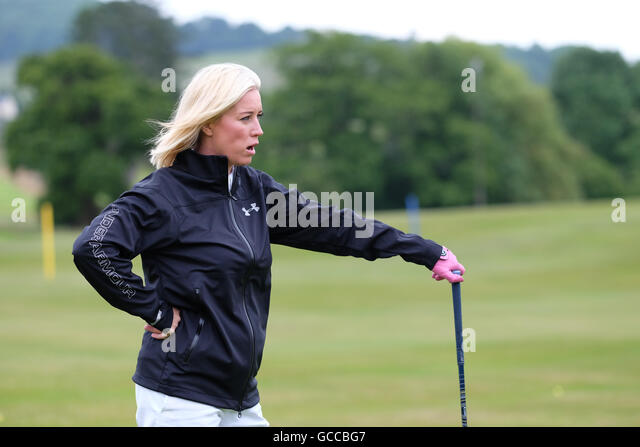 Celtic Manor, Newport, Wales - Saturday 9th July 2016 - The Celebrity Cup golf competition Denise Van Outen looking - Stock Image