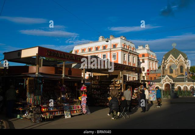 Souvenir market at ploshchad Konyushennaya square central St Petersburg Russia Europe - Stock Image