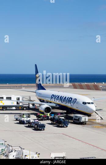 Ryanair Plane  Lanzarote airport, Lanzarote, Canary Islands Europe - Stock-Bilder