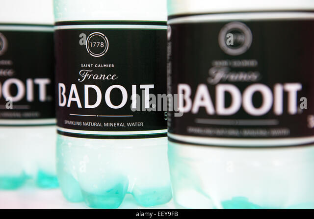 Bottles of Badoit French bottled water - Stock Image