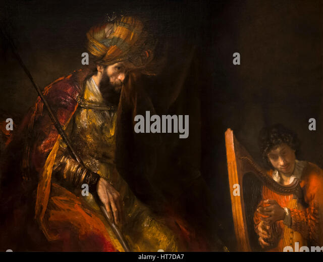 Saul and David, by Rembrandt, 1650's,  Royal Art Gallery, Mauritshuis Museum, The Hague, Netherlands, Europe - Stock Image