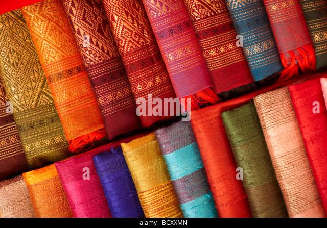 details of silk fabrics on sale in the Night Market, Luang Prabang, Laos - Stock Image