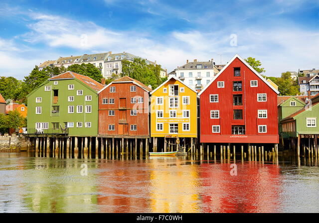 Colorful historic storage houses in Trondheim, Norway - Stock-Bilder
