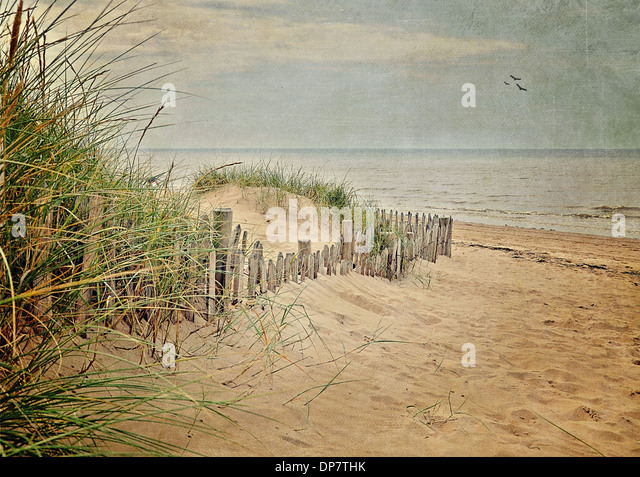 Formby Beach with a vintage feel. - Stock Image
