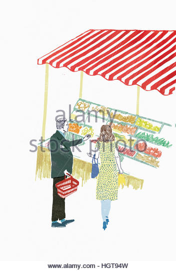 Man and woman choosing fruit and vegetables from market stall - Stock-Bilder