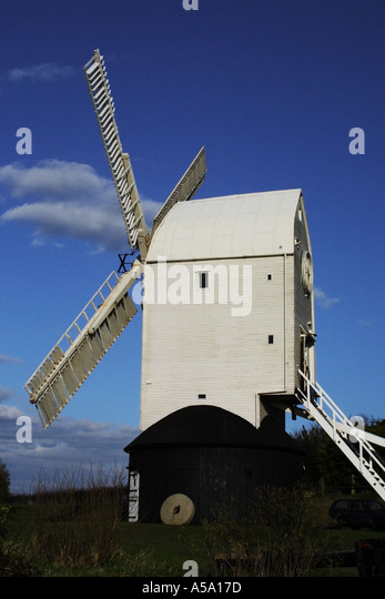 Jill windmill on the South Downs at Clayton, near Brighton Sussex UK England - Stock Image