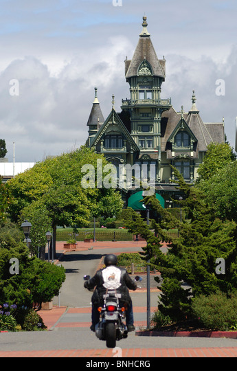 Usa Eureka California Carson Mansion Victorian Architecture Villa House Biker Motorbike United States of America - Stock Image