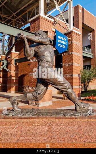Baseball legend, Mickey Mantle, AT&T Bricktown Ballpark in Bricktown entertainment district of Oklahoma City, - Stock Image